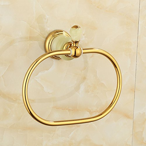 ZnzbztCu all natural Jade Gold Towel Ring Metal hanging round towel rack circle Towel racks, perfecting luxury of Tsing Yu)