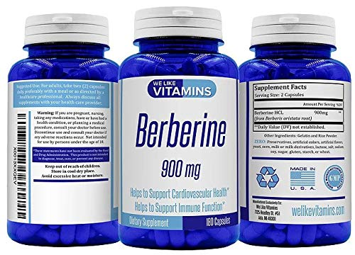 *New 1200mg Formula* Berberine 1200mg 180 Capsules (Non GMO, Gluten Free, Vegetarian) Best Value Berberine Supplement for Supporting Immune and Cardiovascular Function