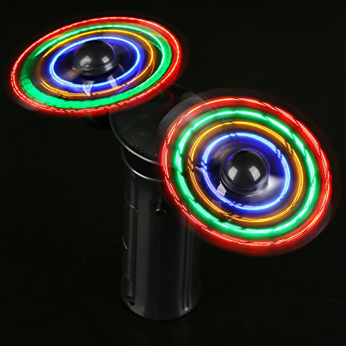 Fun Central AT743 LED Double Fan, Portable Handheld Personal LED Light up Double Fan with Changing Patters, LED Partable Fan, LED Handheld Fan, Light up Protable Fan, Light up Handheld Fan - Black ()