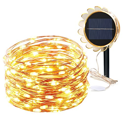Solar String Lights, BESWILL 49ft 150LED 8 Modes Waterproof IP65 Auto ON/OFF Bendable Copper Wire Lights with Sunflower Shape Solar Panel for Indoor Outdoor Lighting and Decoration (Warm white) (Led Outdoor Furniture)