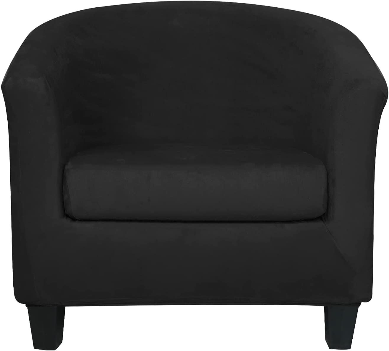2 Pieces Velvet Tub Chair Covers with Cushion Cover Stretch Soft Removable Tub Chair Slipcovers Armchair Sofa Couch Furniture Protector for Living Room Club Bar Counter (Black)