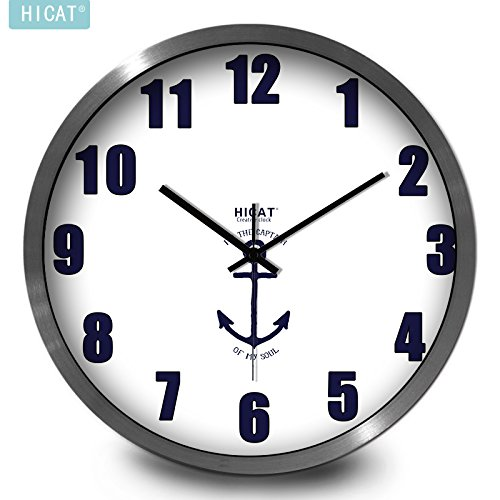 BYLE Wall Clock Quartz Mute Non-Ticking Silent Kitchen Living Room Battery Creative Modern Bedroom Wall-Mounted Electronic Home Decor Wall Clock, 12 Inch,Cw023 Naval Flag Pin Black Silver Wire Box,