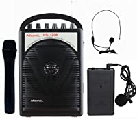Hisonic HS120B Lithium Battery Rechargeable & Portable PA (Public Address) System with Built-in VHF Wireless Microphone, Car Cigarette Lighter Cable, Carrying Bag ,1 Hand Held +1 Body Pack