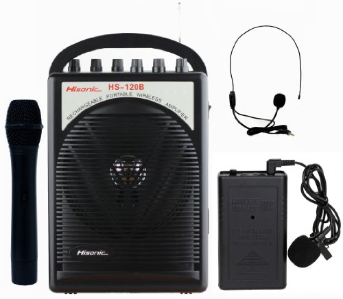 Hisonic HS120B Lithium Battery Rechargeable & Portable PA (Public Address) System with Built-in VHF Wireless Microphone, Car Cigarette Lighter Cable, Carrying Bag,1 Hand Held +1 Body Pack