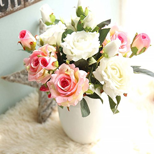 Artificial Flowers, Fake Flowers Silk 9 Heads Roses Bouquets Gifts Wedding Party Kitchen Home Decor (pink-white) (White Flowers Silk Small)