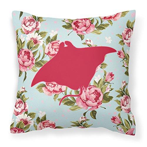 Caroline's Treasures BB1014-RS-BU-PW1818 Manta Ray Shabby Chic Blue Roses Pillow, 18