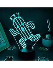 Cactuar lampka nocna LED 3D iluzja lampka nocna LED do pokoju dziecięcego, sypialni, dekoracja kaktusa, prezent urodzinowy, na biurko