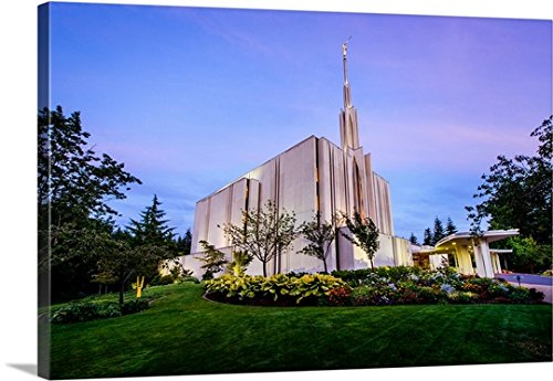 Scott Jarvie Gallery-Wrapped Canvas entitled Seattle Washington Temple, Twilight Glow, Bellevue, Washington by greatBIGcanvas