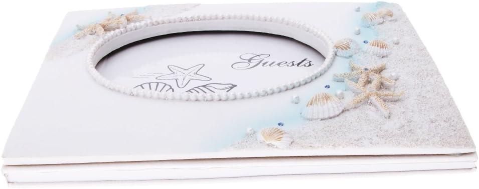 PETSOLA Livre dor De Mariage Ocean Beach \u0026 Set De Stylos Coquillages Coquillage D/écoration
