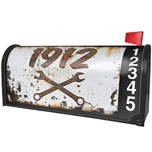 NEONBLOND Rusty old look car 1912 Magnetic Mailbox Cover Custom Numbers