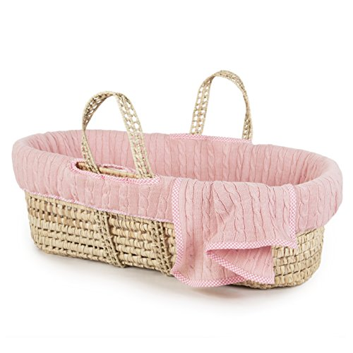 Tadpoles Cable Knit Moses Basket and Bedding Set, (Oval Baby Cradle Bedding)