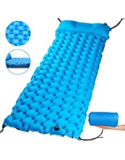 Inflatable Sleeping Mat Pad with Pillow,40D Nylon Ultralight Folding Air Mattress with Unique Anti-blowing Copper Ring,Waterproof Camping Mat for Hiking,Outdoor Backpacking,With Storage Bag,Lake Blue