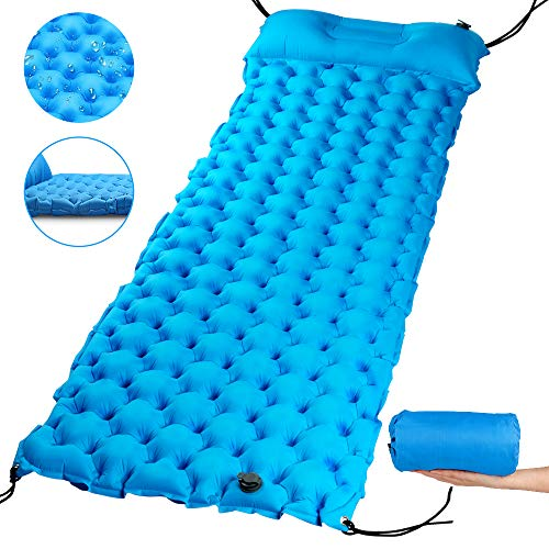 Inflatable Sleeping Pad Ultralight & Durable with Attached Pillow for Hiking, Backpacking, Hammock, Tent & Travel, Windproof Camping Mat (Blue)