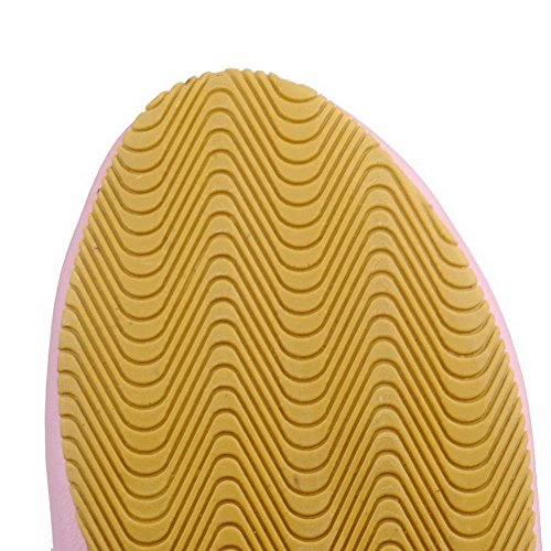 AgooLar Damen PU Rund Zehe Niedriger Absatz Ziehen auf Rein Stiefel Pink