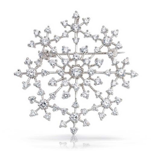 Bling Jewelry Large Winter Holiday CZ Pave Cubic Zirconia Scarf Christmas Statement Snowflake Brooch Pin for Women Silver Plated Brass