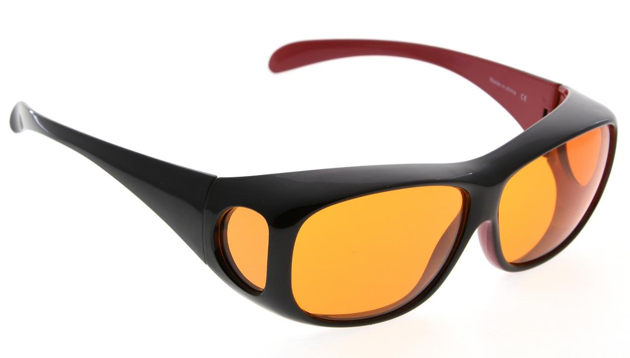 Fit over Blue Blocking Glasses with Orange Tinted Lens,Black Red