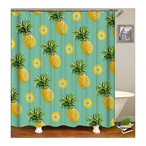 Gnzoe Polyester Pineapples Pattern Shower Curtain Yellow Cyan120x180CM