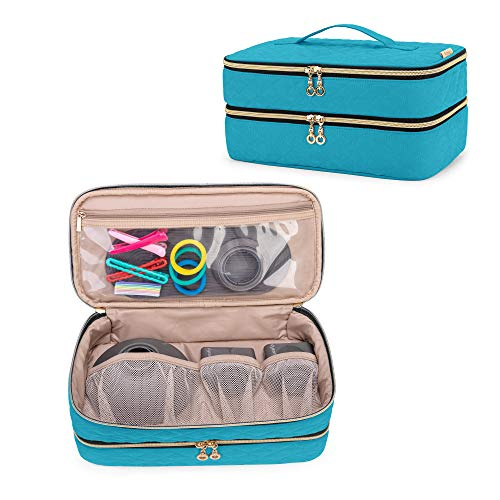 Teamoy Double-Layer Travel Organizer Bag Compatible with Dyson Supersonic Hair Dryer, Portable Travel Storage Bag for Hair Dryer and Attachments, Teal(BAG ONLY)