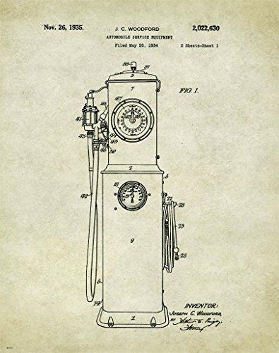 Automotive Gas Pump Motivational Patent Poster Art Print Stock Car Racing Parts Nascar Toys Track 11x14 Wall Decor Pictures