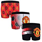 Manchester United FC Official Gift 3 Pack Boys Crest Boxer Shorts 11-12 Years