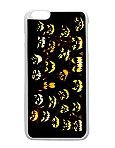 iPhone 6 Plus White Case - Halloween Pumpkin Faces Patterned Protective Skin Hard Case Cover for Apple iPhone 6 Plus with 5.5 inch - Haxlly Designs Case