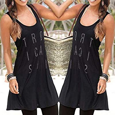 PASATO Womens Off Shoulder Casual Bohemian Sleeveless Letter Above Knee Strap Dress Loose Party Dress