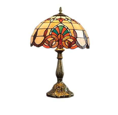 JJRG Base Europea del Efecto Antiguo, vitral Anaranjado y lámpara de Mesa del diseño de