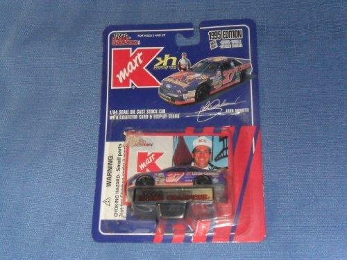 (1995 NASCAR Racing Champions . . . John Andretti #37 Kmart Ford Thunderbird 1/64 Diecast . . . Includes Collectors Card and Display Stand)