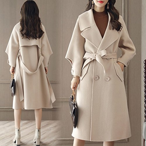 a of white Winter Women Coat Fashion Section Thin It and Long Loose Coat WYF Creamy Autumn RwxqEA4Cc