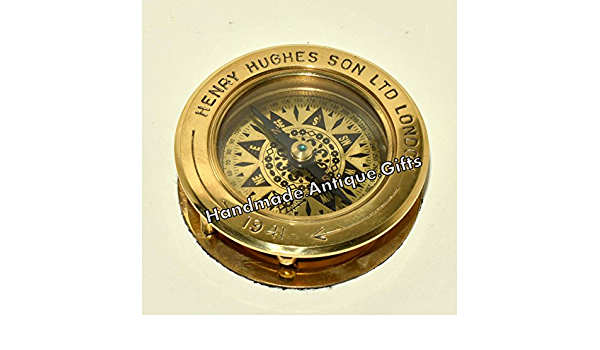 Nautical Brass Sundial With Magnifier Flipout Compass Gift
