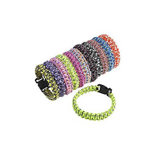 """Paracord Bracelet Woven 8.25"""" Colorful Bracelets - Pack of 12 - Camps, Prizes, Classrooms, Party Favors, Sleepovers, Easter Baskets"""