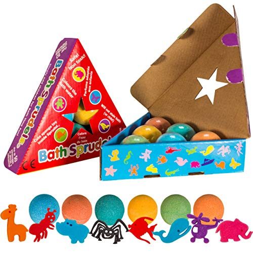 The Bean People USA Bath Bombs for Kids: Bathbombs With Surprise Inside That Wows Any Kid, Ideal Toys Fizzies for Age 3+, Men, Women and Girls With Kids, Perfect For Family Bat (6 pcs Per Pack)