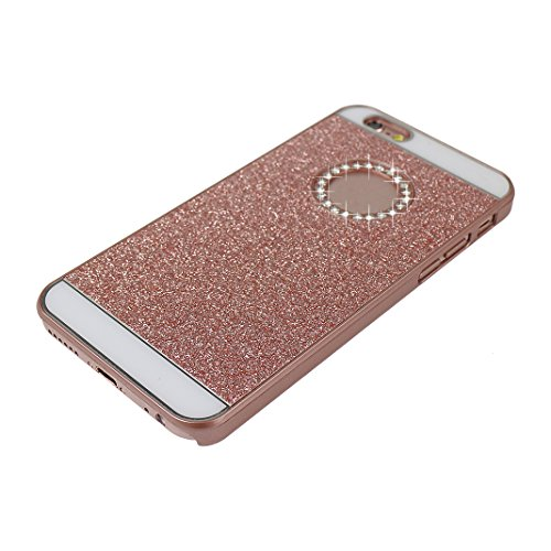 3PCS iPhone 6 Cáscara, iPhone 6S Funda Protectora, Moon mood® Duro PC Bling Cristal Glittar Rhinestones Caso Trasero Cubierta Teléfono Concha Estuche Back Case Cover Phone Shell Bumper Protección Piel Rosa Oro