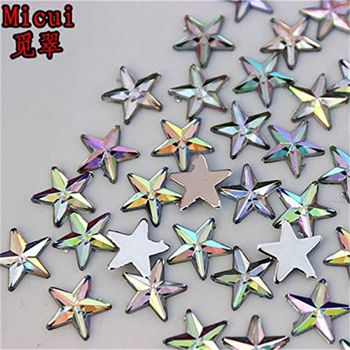 Pukido 200pcs 10mm Five Pointed Star Acrylic Rhinestones Crystal Flat Back Beads Shoes Bags for Clothing Craft Decoration ZZ615 - (Color: AB Clear, Size: 10mm, Number of Pcs: ()