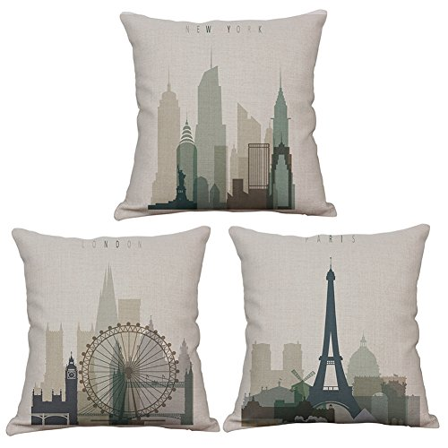 Aremazing Retro Vintage World Famous Building Throw Pillow Covers Cotton Linen Home Decor Pillowcase Cushion Cover 18 x 18 Inches Set of 3 New York, London, Paris City (Set of 3) (American Retro London)