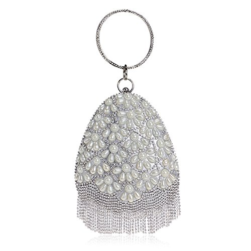 shaped Tassel Glitter Diamante Women Pearl Shoulder Party Wedding Handbag Clubs Ladies Bridal Clutch For Bag Bag Silver Evening Prom Purse Gift Teardrop wvxXvzqpS