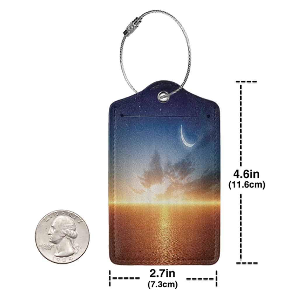 Personalized luggage tag Ocean Decor Sunset Sky With Moon And Stars Alluring Horizon Scenery Fantasy Artwork Print Easy to carry Navy Yellow Orange W2.7 x L4.6