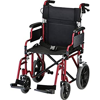 """Image of NOVA Lightweight Transport Chair with Locking Hand Brakes, 12"""" Rear Wheels, Removable & Flip Up Arms for Easy Transfer, Anti-Tippers Included, Red Health and Household"""