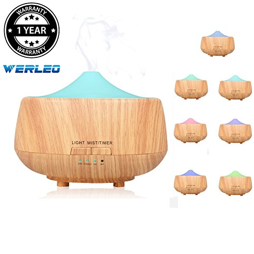 Werleo 250ml Wood Grain Aromatherapy Essential Oil Diffuser Vaporizer Cool Mist Ultrasonic Aroma Humidifier Air for Large Home Yoga Spa Baby Kids Office 7 LED Color Changing Timer Auto Shut-Off Quiet