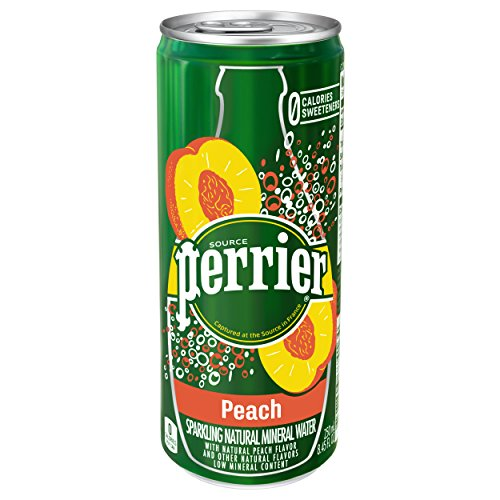 Perrier Peach Flavored Carbonated Mineral Water, 8.45 fl oz. Slim Cans (30 (Peach Water)