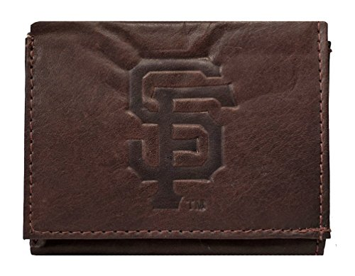 Rico San Francisco Giants MLB Embossed Logo Dark Brown Leather Trifold Wallet