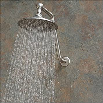 Atlantis 2 Rain Shower Head With Arm, Brushed Nickel