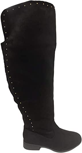 Ladies Knee High Suede Leather Extra Curvy Wide Fit Calf Boots Flat Stretch