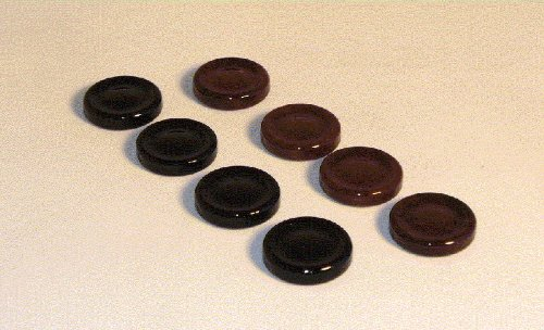 Alabaster Backgammon Checkers (Worldwise Imports Alabaster 1/4in Checker/Backgammon Pieces (30) Color: Black and Brown)