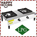 Commercial Kitchen Equipment Heavy Duty RANGETOP 2 BURNER cooktop PROPANE GAS Countertop Multipurpose Hot Plate Range Stove Cast iron Hotplate Cooker Stainless Steel Body CE CERTIFIED