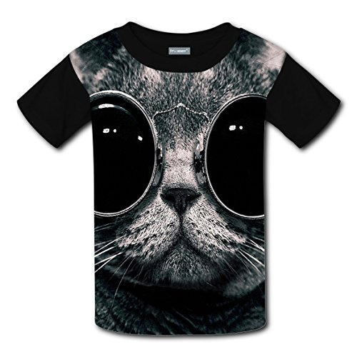 Cats in Glasses Original Design Funny Print T-shirts Kids Casual Top Best Choice for Boys Girls