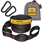 Wise Owl Outfitters Talon Hammock Straps - Combined 20 Ft Long, 38 Loops W/ 2 Carabiners - Easily Adjustable, Tree Friendly Must Have Gear For Camping Hammocks Like Eno Fuchsia Stitching