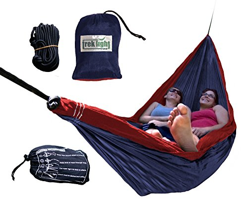 Trek Light Gear Double Hammock with Rope Kit - The Original Brand of Best-Selling Lightweight Nylon Hammocks - Use for All Camping, Hiking, and Outdoor Adventures {Navy/Red} by Trek Light Gear