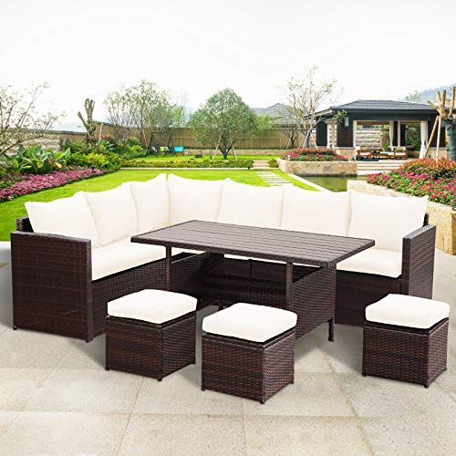 Wisteria Lane Patio Furniture Set,10 PCS Outdoor Conversation Set All Weather Wicker Sectional Sofa Couch Dining Table Chair with Ottoman,Brown (Banquette Sale For)
