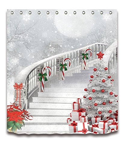 - LB Merry Christmas Season Eve New Year Decorative Decor Gift Shower Curtain Polyester Fabric 72x72 inch White Night Snow Candy Cane Tree Stairs Bathroom Bath Liner Set